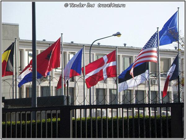 Здание НАТО - флаги за стеной с колючей проволокой