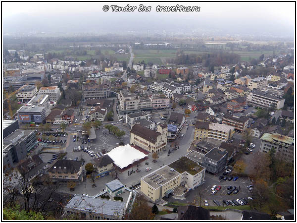 Княжество Лихтенштейн. Вид на Вадуц со смотровой площадки.