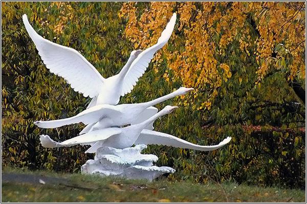 Скульптура Лебеди в Омске