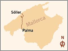 Схема маршрута поезда Пальма-де-Майорка — Сойер