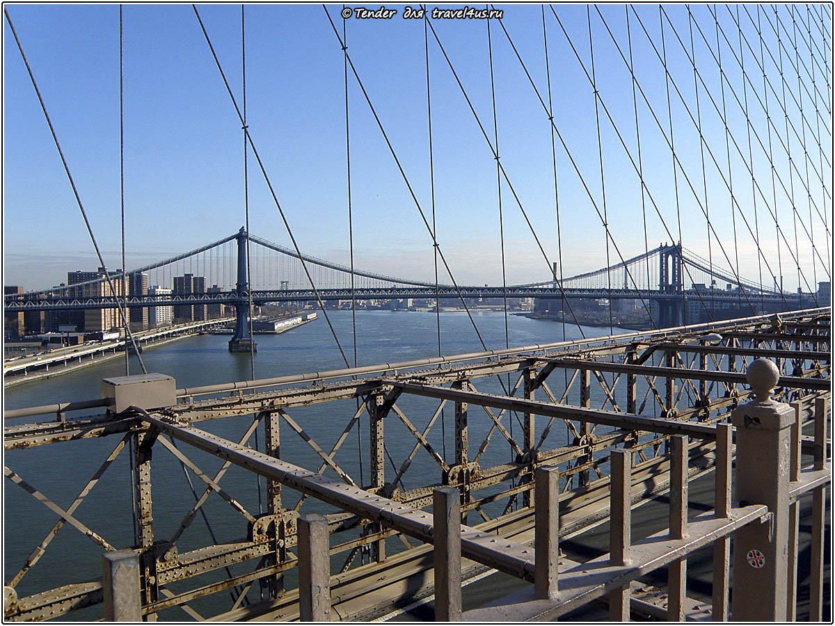 Вид на Манхэттенский мост с Бруклинского моста