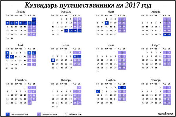 Календарь путешественника на 2017 год